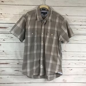 Tommy Hilfiger Custom Fit Short Sleeve Gray Plaid